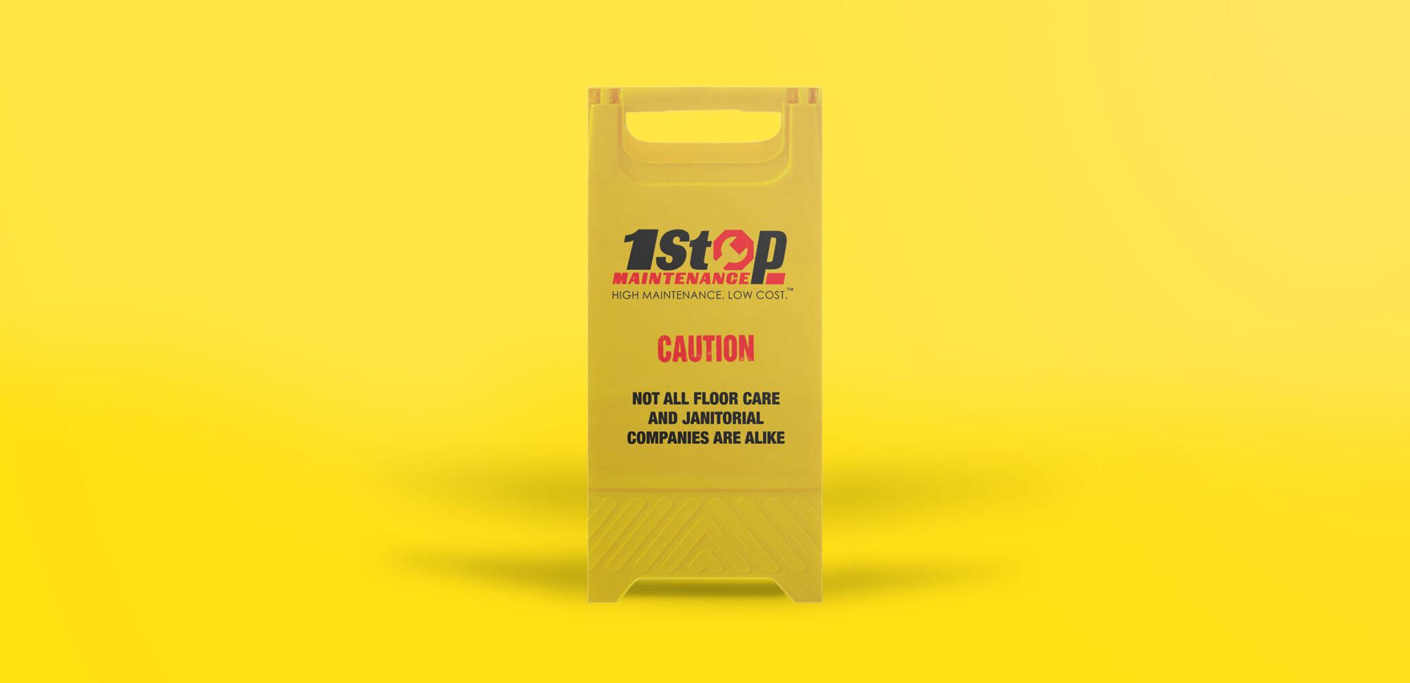 1 Stop Maintenance Caution Wet Floor Sign